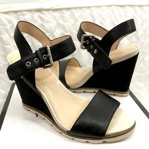 Nine West Black and White Contrast Strappy Heel